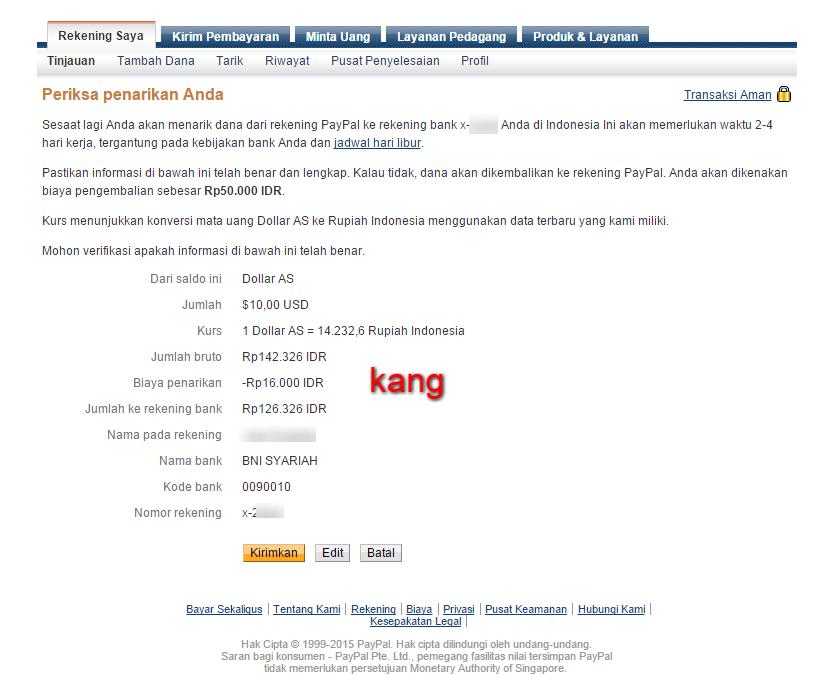 Konversi Dollar ke Rupiah Via Paypal