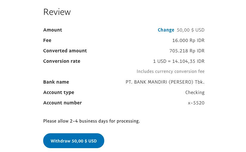 Paypal Withdrawl versi baru