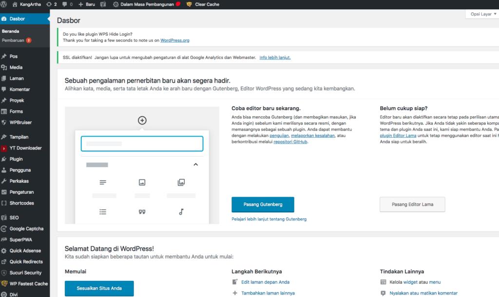 Wordpress Admin Dashboard UX