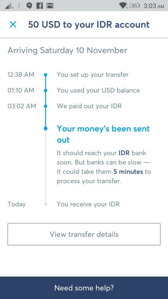 Notifikasi Email Withdrawl Transferwise