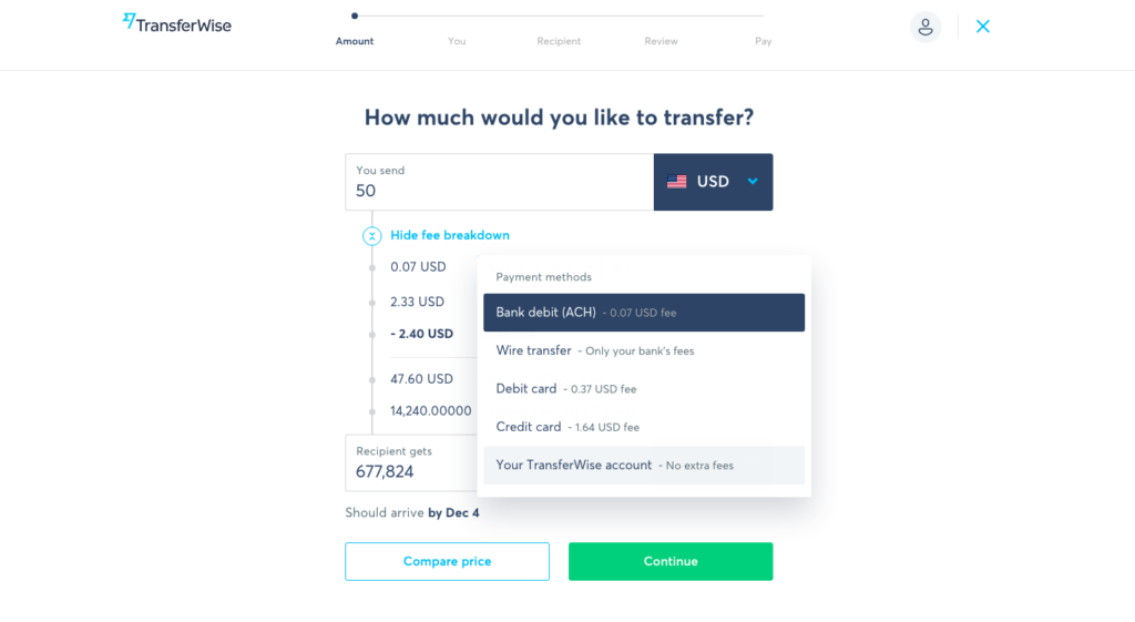 Transferwise Metode No fee