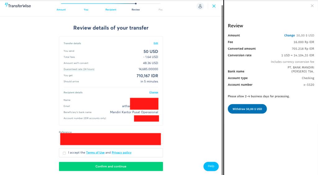 Perbandingan nilai tukar Paypal dan Tranferwise
